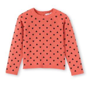 Пуловер с круглым вырезом из тонкого трикотажа 3-12 лет La Redoute Collections. Цвет: розовый коралловый