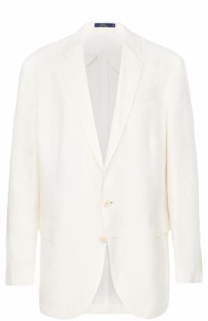 Льняной однобортный пиджак Polo Ralph Lauren. Цвет: белый