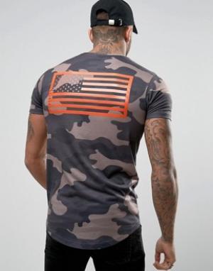 Good For Nothing Обтягивающая камуфляжная футболка с принтом на спине. Цвет: зеленый