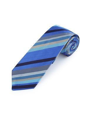 Галстук Technic Stripe Bures Duchamp. Цвет: черный, лазурный, морская волна, светло-бежевый, светло-серый, серо-голубой, синий