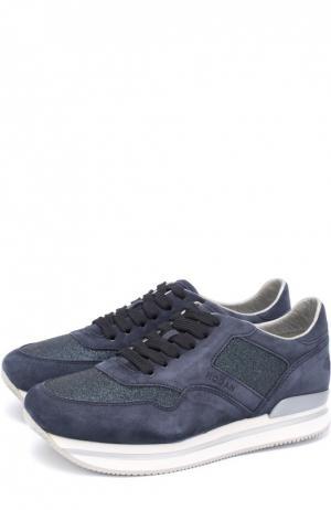 Замшевые кроссовки с вставками из текстиля Hogan. Цвет: темно-синий