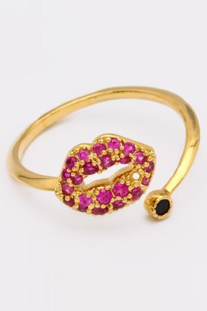Кольцо NICE GIRL. Цвет: малиновый, золото