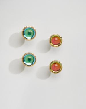 Me & Zena Две пары сережек-гвоздиков с камнями. Цвет: золотой