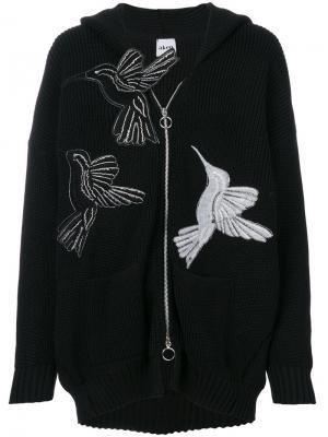 Кардиган на молнии с принтом птицы Akep. Цвет: чёрный