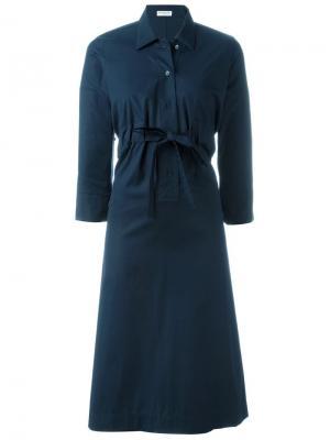 Платье-рубашка с разрезом Veronique Leroy. Цвет: синий
