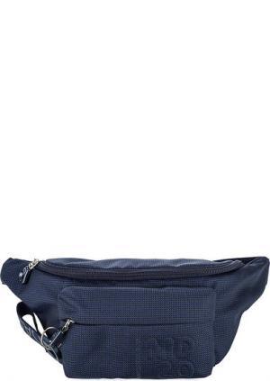 Текстильная поясная сумка на молнии Mandarina Duck. Цвет: синий