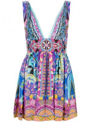 Мини-платье с рисунком и блестящей отделкой Camilla. Цвет: многоцветный