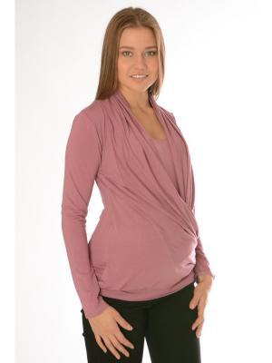 Блуза со сложным воротником Ням-Ням. Цвет: розовый