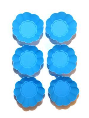 Силиконовые формы для маффинов, 6 шт DiMi. Цвет: голубой