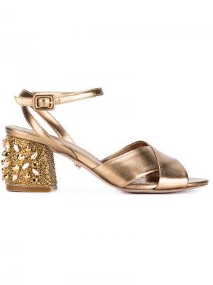 Босоножки с декорированными каблуками Le Silla. Цвет: металлический