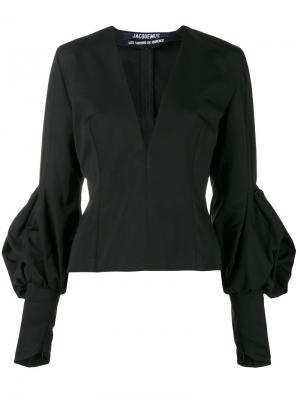 Приталенная блуза с V-образным вырезом Jacquemus. Цвет: чёрный