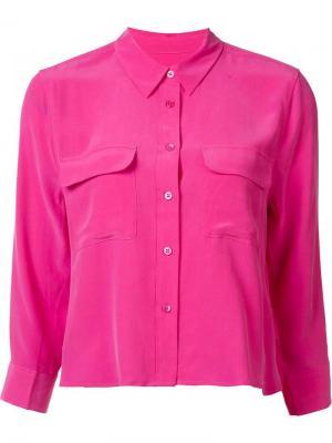 Укороченная рубашка с нагрудными карманами Equipment. Цвет: розовый и фиолетовый
