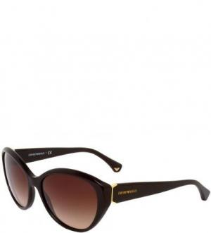 Солнцезащитные очки в пластиковой оправе Emporio Armani. Цвет: коричневый