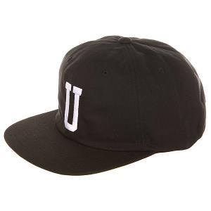 Бейсболка с прямым козырьком  U Strapback Cap Black Undefeated. Цвет: черный