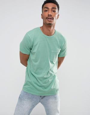 Abercrombie & Fitch Зеленая узкая футболка с карманом. Цвет: зеленый