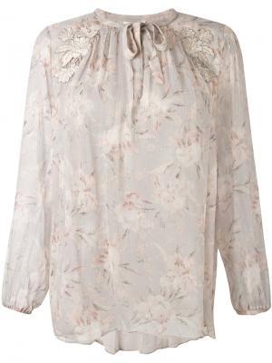 Блузка с цветочным принтом Zimmermann. Цвет: телесный