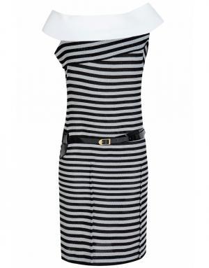 Хлопковое платье Roland Mouret. Цвет: белый, черный
