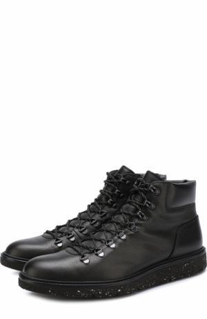 Высокие кожаные ботинки на шнуровке Hogan. Цвет: черный