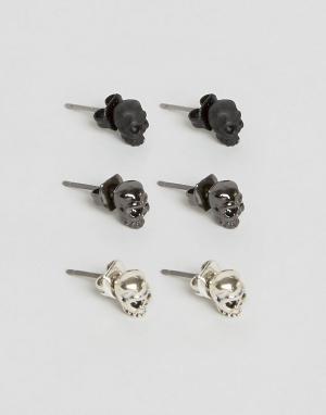 Icon Brand Набор из 3 сережек-гвоздиков с дизайном черепа. Цвет: мульти