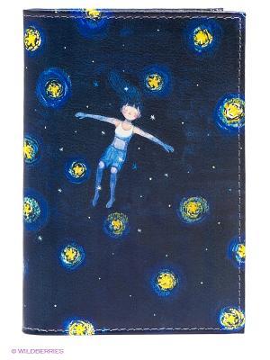 Обложка для паспорта Mitya Veselkov. Цвет: темно-синий, синий, желтый