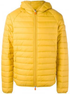 Дутая куртка с капюшоном Save The Duck. Цвет: жёлтый и оранжевый