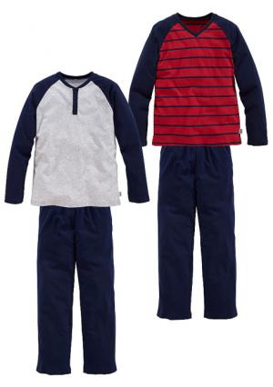 Пижама, 2 штуки LE JOGGER. Цвет: серый меланжевый+темно-синий