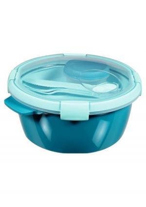 Контейнер пищевой с приборами CURVER. Цвет: синий (голубой)