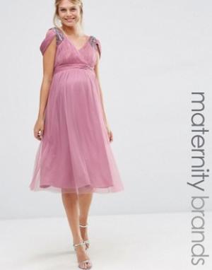 Little Mistress Maternity Платье миди с открытыми плечами для беременных Materni. Цвет: фиолетовый
