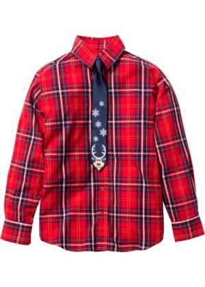 Рубашка с галстуком, Размеры  116/122-164/170 (красный/зеленый) bonprix. Цвет: красный/зеленый