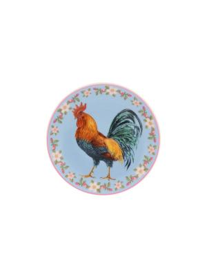 Тарелка декоративная Петух в цветах на голубомс подставкой Elan Gallery. Цвет: голубой, оранжевый