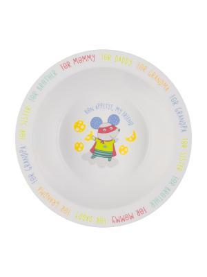Глубокая тарелка для кормления FEEBING BOWL Happy Baby. Цвет: белый, серый