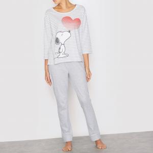 Пижама в полоску с длинными рукавами Snoopy. Цвет: серый/в полоску