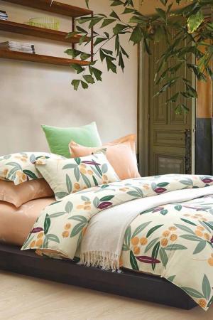 Постельное белье Евро, 50х70 Jardin. Цвет: зеленый, желтый, оранжевый