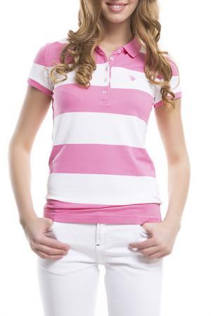 Футболка-поло U.S. Polo Assn.. Цвет: vr082 розовый, белый, полосы