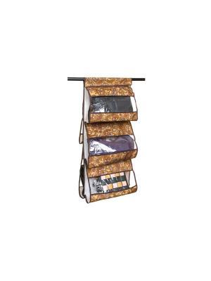 Кофр подвесной для сумок Перо павлина EL CASA. Цвет: коричневый, оранжевый