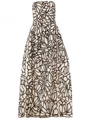 Декорированное платье Oscar de la Renta. Цвет: белый