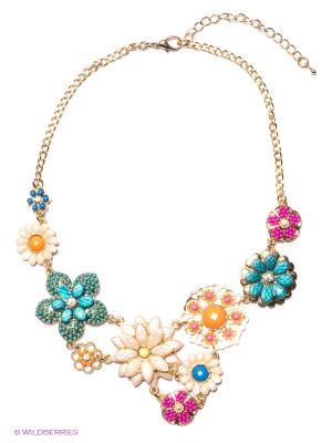Колье Milana Style. Цвет: золотистый, зеленый