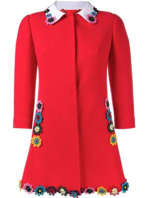 Пальто с цветочным украшением Mary Katrantzou. Цвет: красный