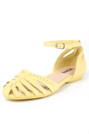 Босоножки Monis. Цвет: желтый