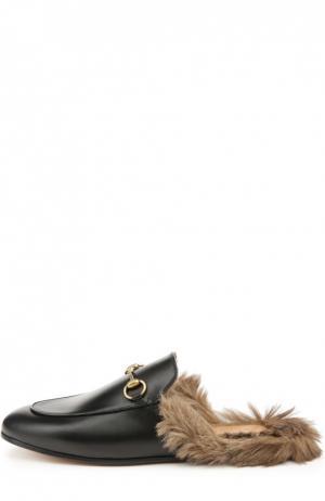Кожаные сабо Princetown с пряжкой Gucci. Цвет: черный