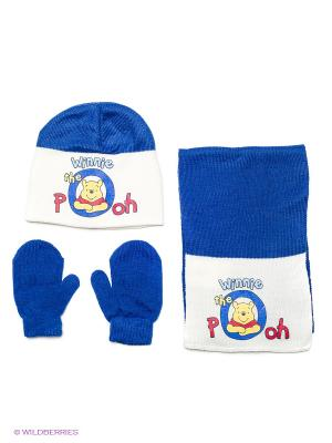 Комплект шапка, шарф, перчатки Sun City. Цвет: синий