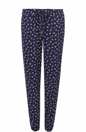 Укороченные брюки с эластичным поясом и цветочным принтом MICHAEL Kors. Цвет: синий