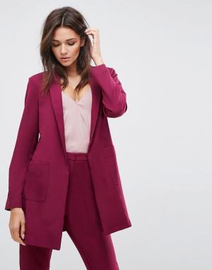 ASOS Длинный блейзер Tailored. Цвет: фиолетовый