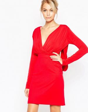 Hedonia Платье с глубоким вырезом и длинными рукавами Gabby. Цвет: красный