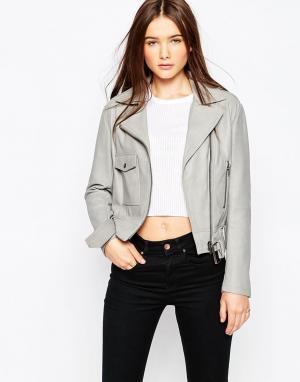 Muubaa Кожаная байкерская куртка Marino. Цвет: серый
