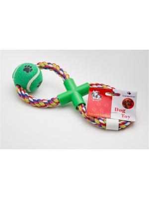 Игрушка канатная восьмерка с мячом, 43 см Doggy Style. Цвет: зеленый