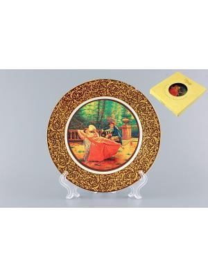 Тарелка декоративная Влюбленная парочка в саду Elan Gallery. Цвет: коричневый, красный, желтый, синий