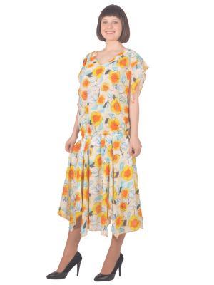 Блузка Томилочка Мода ТМ. Цвет: светло-голубой, бежевый, желтый