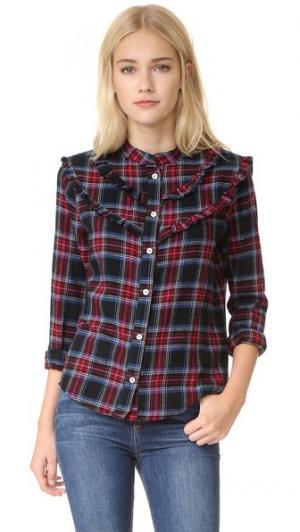 Рубашка в клетку с оборками на манишке Clu. Цвет: темно-синяя клетка