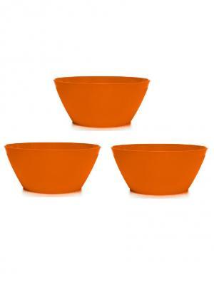 Комплект салатник круглая 2,5л -3 шт. Полимербыт. Цвет: оранжевый